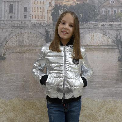 Куртка бомбер серебро для девочек