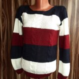 Вязаный джемпер,свитер,кофта с косами