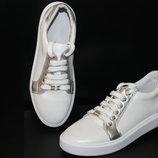 Белые кеды с серебром , кожа натуральная , с 36-41р