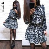 Стильное платье леопард