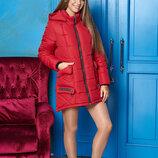 Зимняя куртка-парка с ассиметричным низом и съемным капюшоном