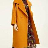 Пальто vero moda темный кэмел оверсайзе кокон весна-осень s-m