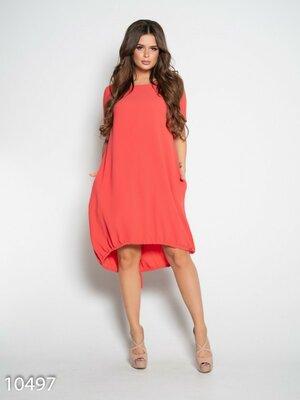 Платье свободное с асимметричной длиной и боковыми карманами. 6-цветов.Размер с S по 5XL