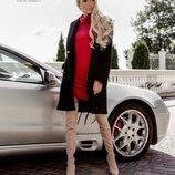 Демисезонное модное черное пальто