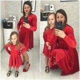 Платье мама/дочка Мод Ткань бархат Цвет красный, чёрный размер мама С-М, Л-Хл