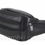 Кожаная сумка на пояс R черная бананка поясная барсетка на плечо мужская женская барыжка