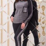 Спортивный костюм двунитка люрексовая черный бордо