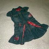 джинсовое платье Вышивка 2-3 года