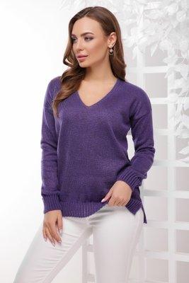 фиолетовый свитер с люрексовой нитью M 148 джемпер женский вязаный