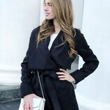 Черное стильное пальто без подклада