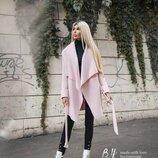 Нежно-Розовое стильное пальто без подклада