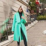 Ярко-Зеленое стильное пальто без подклада