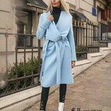 Голубое стильное пальто без подклада