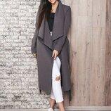Графитовое стильное пальто без подклада