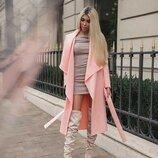 Персиковое стильное пальто без подклада