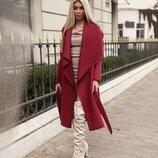 Марсаловое стильное пальто без подклада
