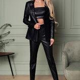 Кожаные зауженные брюки