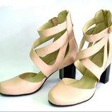 Туфли босоножки открытые с ремешками каблук 6 см р 35 по 41