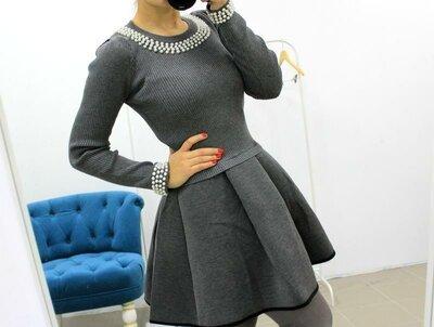 Оригинальное платье с жемчугом и пышной юбкой,универсал,2 цвета ,качество