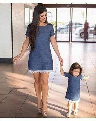 Комплект платьев под джинс мама дочка фемели лук с кружевом