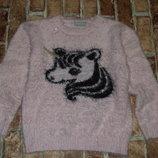 свитер кофта девочке кофта травка единорог 7 - 9 лет большой выбор одежды
