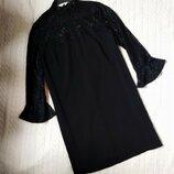 Платье чёрное с кружевом гипюрюм
