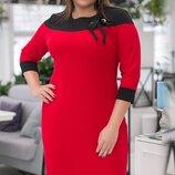 Платье повседневное XL креп дайвинг розовый джинсовый красный