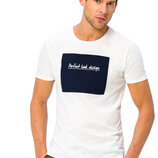 Белая мужская футболка Lc Waikiki / Лс Вайкики с надписью Perfect look design