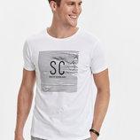 Белая мужская футболка Lc Waikiki / Лс Вайкики с надписью SC Coolest design ever