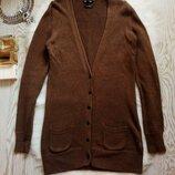 Длинный с натурального льна свитер на пуговичках кардиган кофта с вырезом и карманами Massimo Dutti