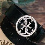 Кожаный ремень в стиле Guess унисекс серебро