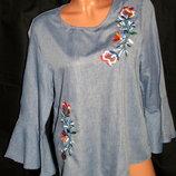 Шикарная блуза с вышивкой , с расклешёнными рукавами - M - L