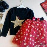 Модный костюм с фатиновой красной юбкой для девочки, стильный и яркий костюм. Пышная фатиновая юбка