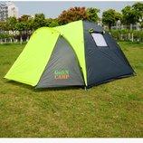 Палатка туристическая трех местная GreenCamp 1011-2, на 2 входа с тамбуром, двухслойная, размеры 330