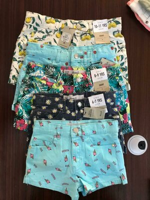 Новые джинсовые яркие шорты для девочки c печатью. Denim Co
