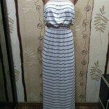 Ocean club. полосатое длинное платье бюстье, размер м