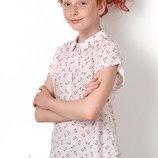 Нарядная блузка для девочек с принтом котики Mevis 2893 Размеры 146-164