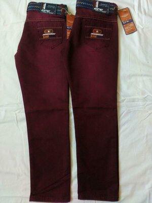 Демисезонные Котоновые брюки на мальчика цвет марсала 4-12 лет 104-152 рост