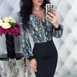 Шикарное стрейчевое платье ткань итальянский трикотаж животные принты скл.1 арт.51169