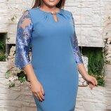 Шикарное нарядное платье с кружевной вышивкой на сетке ткань креп-дайвинг хл размеры скл.1арт.51161