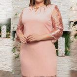 Шикарное нарядное платье с кружевной вышивкой на сетке ткань креп-дайвинг хл размеры скл.1арт.51160