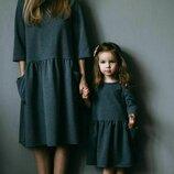 Комплект фемели лук мам дочк комплект одинковых свободных платьев