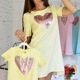 Комплект фемели лук летние туники мама дочка комплект одинковых платьев для мамы и дочки