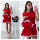 Комплект платьев с кружевом фемели лук мама дочка летние платья