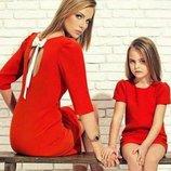 Комплект нарядных платьев с бантиками мама дочка фемели лук разные цвета