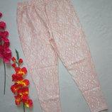 Роскошные ажурные гипюровые укороченные пудрового цвета брюки For Women.