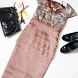 Атласное платье миди от vera mont с шикарной вишивкой