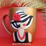 Чашка с полимерной глиной Дама в шляпе .Чашка Девушка в шляпе -отличный подарок женщине
