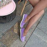 Мокасины замшевые нежно фиолетовые Код 559-4