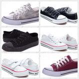 25-41р Конверсы кеды кроссовки под Converse star детские белые черные на липучках и шнурках